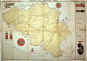 1954 RACB map showing Gulf and Marly advertising