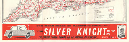 ca1962 Practical Motorist map with Silver Knight Motor Oil advert