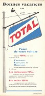 Rear cover of 1958 Camping Map of France with Total advert