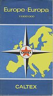 Carte routière Caltex de 1958 de l'Europe