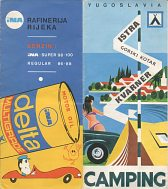 1969 Camping map of Istria with INA oil advert