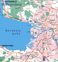 Part of detailed map of St Petersburg