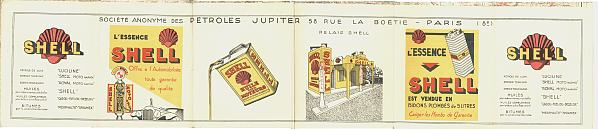 1930 Shell map of France - adverts