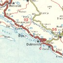 1964 Shell map showing Dubrovnik